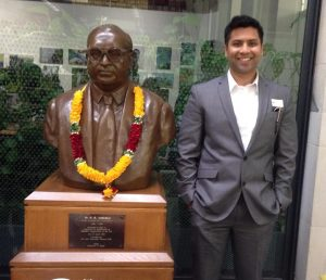 Author with Ambedkar statue