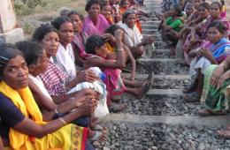 Dongria Kond women blocking railway tracks to protest the land-grab of Niyamgiri moutain in Odisha