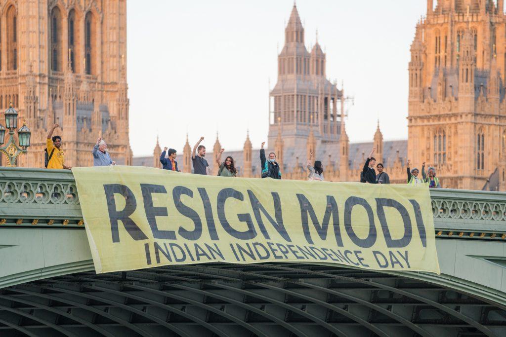 Resign Modi Banner Westminster Bridge